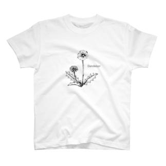 モノクロ〝たんぽぽ〟イラスト T-shirts