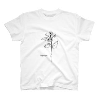 モノクロ〝ジャスミン 〟イラスト T-shirts