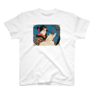 浮世絵 美人と猫 T-shirts