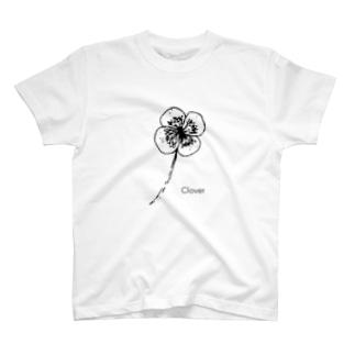 モノクロ〝クローバー〟イラスト T-shirts