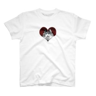 ねこはなこ HEART White T-shirts