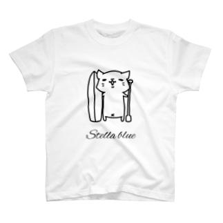 Stella  blue 波猫キャラクターTシャツ T-shirts