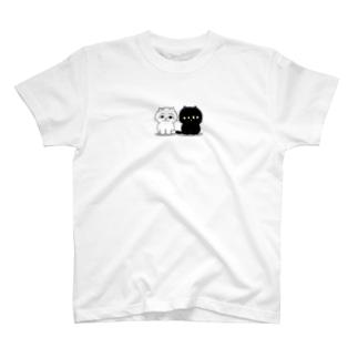 くろねこ一家(2人整列) T-shirts