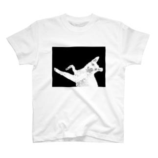 Black White Mix Dog 雑種犬 プリントTシャツ T-shirts