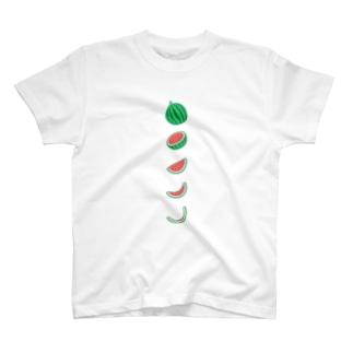 🍉スイカの満ち欠け(縦) T-Shirt