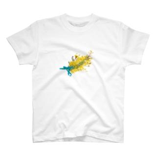 ミモザを使った黄色い押し花の花束、リボン付き。 T-shirts