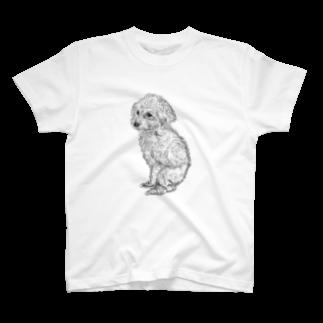 筆ペンどうぶつの美野田さんちのペコちゃん T-shirts