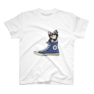 スニーカーにすっぽり入ったチワワ(ブラックタン・青) T-Shirt