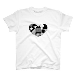 モノクロハート T-shirts