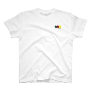 スリー・ミープルズ(ロゴ入横)ワンポイント T-shirts
