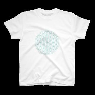 agehadouのフラワーオブライフ(aqua) T-shirts