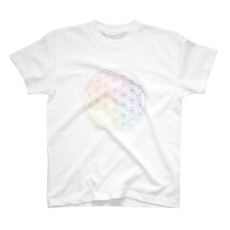 フラワーオブライフ(rainbow) T-shirts