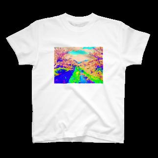 __art__01__のデジタルお花見🌸 T-shirts