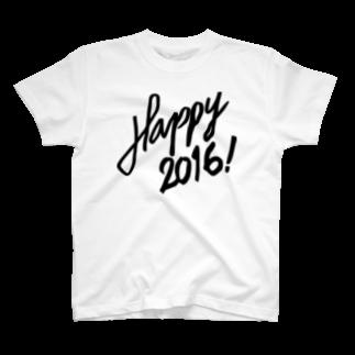 HAPPY 2016のHAPPY 2016正月 グッズ STYLISH BLACK T-shirts