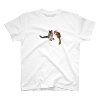 羊毛フェルトのふわふわ仲良しシマリス T-shirts