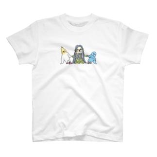 アマビエさんと祈りの組み体操 T-shirts