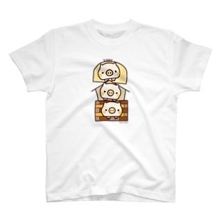 三匹の仲良し子ブタくん T-shirts