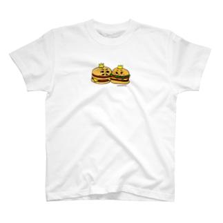 ハンバーガーカップル 大きめアップ T-shirts