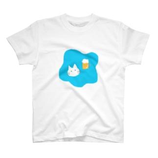 しろねこビール T-shirts