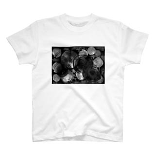 集まる円 黒 T-shirts