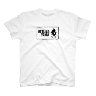 【焚火スカル】ホワイト T-shirts