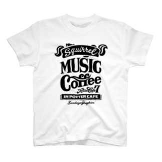 りすカフェ7(黒ロゴ) T-shirts
