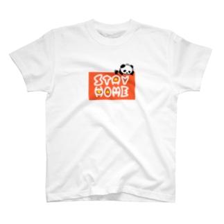 ぐずぐず夫の店のSTAY HOMEにすがるパンダ T-shirts