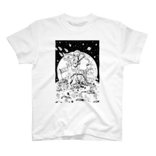 支援イラストモノクロver. T-shirts