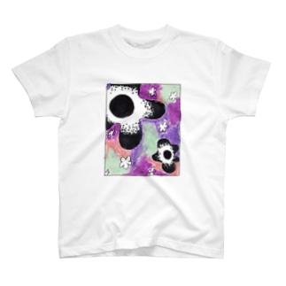 fuzzy flowers T-shirts