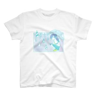 いぬおかの雨の日の女の子 T-shirts