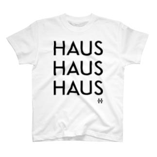 HAUSHAUSHAUS Tシャツ プリントカラーブラック T-shirts