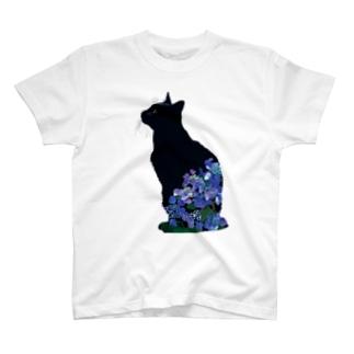 6月(黒猫紫陽花) T-shirts
