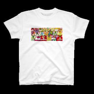 にゃんこグッズ●佐藤家のフルーツ猫 密集☆ T-shirts