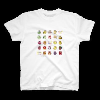 にゃんこグッズ●佐藤家のフルーツ猫 全員集合! T-shirts