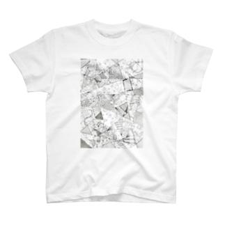 モノクロ無造作線画 T-shirts