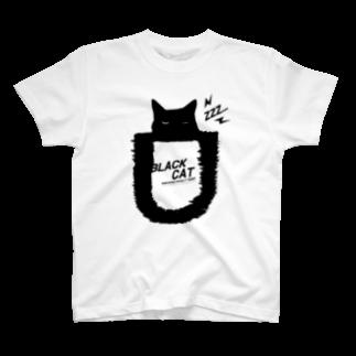 キャッティ(オフィシャル)ネコ好き集まれ!!のBLACK CATシリーズ2(ネコ/猫) T-shirts
