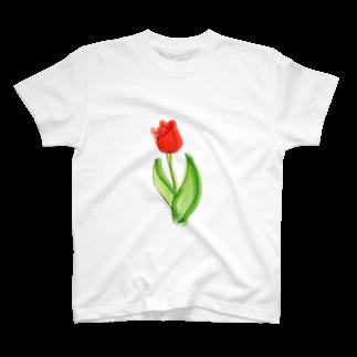 Hinakoの赤いチューリップ、単品で T-shirts