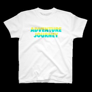 ADVENTUREJOURNEYのTROPICALBIGLOGOT🐠-イエロー×ライム T-shirts