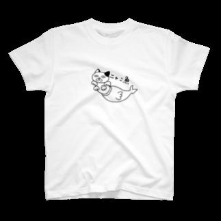 由伊つれづれアートのニャン魚 T-shirts