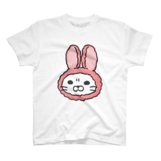 かぶりものねこ(うさぎ) T-shirts