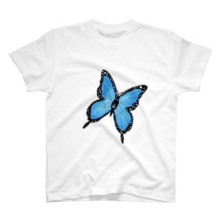 青色バタフライ T-shirts