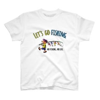 レッツゴーフィッシング ルアーと少年_カラフル T-shirts