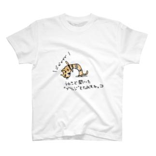 """うわさで聞いた""""ブリッジ""""をためす猫 T-shirts"""