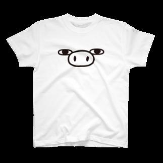 ヨッシースタンプのぶた100%ザフェイス Tシャツ
