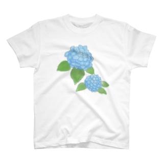 気ままに創作 よろず堂のあじさい 青 T-shirts