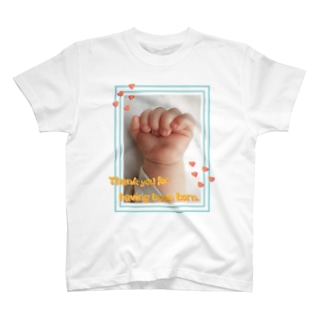 Thank you for having been born-happy baby hands-ハッピーベイビーハンズ-  T-shirts