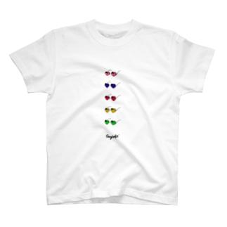 つづりのハートサングラス T-shirts