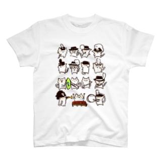 マーチングねこさん15匹 T-shirts
