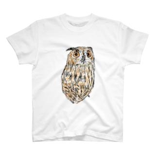 ふくろう17 ユーラシアワシミミズク T-shirts