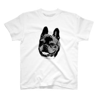 にっこり犬マメ(モノトーン) T-shirts